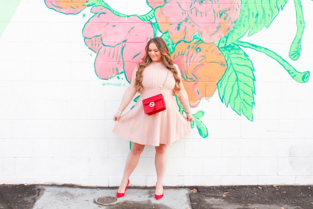 valentines day, valentines day look, valentines day outfit inspo, thoughts on valentines day, relationships on valentines day, single on valentnes day, red suede shoes, red gucci bag, nude scuba dress, nude fit and flare dress, outfit inspo, style inspo, ootd, melissa tierney, melissa tierney blog, missyonmadison instagram,
