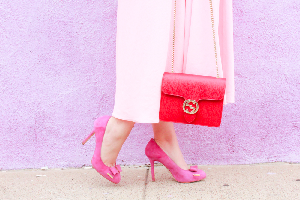 missyonmadison, missyonmadison blog, missyonmadison instagram, la blogger, melissa tierney, melissa tierney instagram, melissa tierney blogger, ootd, outfit inspo, vday outfit inspo, vday outfit ideas, date night outfit inspo, date night look, pink midi skirt, pink pumps, pink bow pumps, red chiffon camisole. red camisole, red gucci bag, red crossbody bag, gucci crossbody bag, bloglovin, fashion blogger, pink skirt, red top, red blouse, red bag, valentines day outfit ideas,