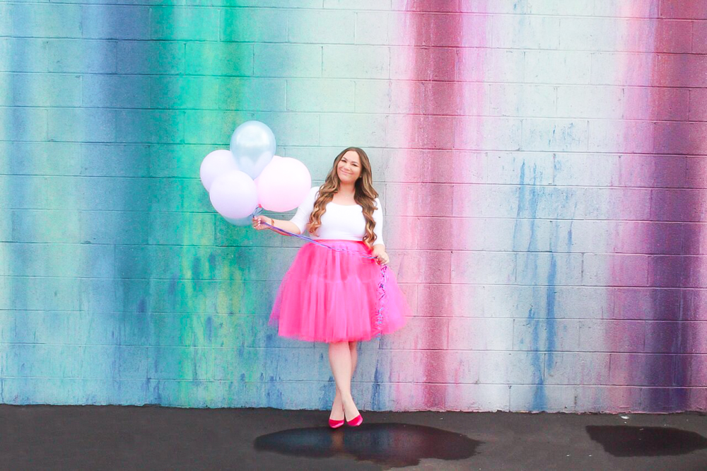 missyonmadison, missyonmadison blog, missyonmadison blogger, la blogger, fashion blogger, style blogger, style inspo, pink tutu womens, womens tutu skirt, pink tulle skirt, white bodysuit, pink manolo blahniks, pink heels, pink manolos, birthday lessons, pasadena rainbow wall, pasadena street wall,