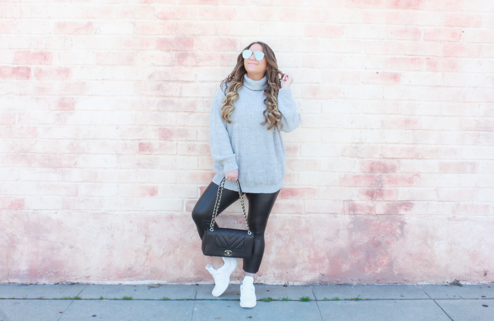missyonmadison, missyonmadison instagram, missyonmadison blog, la blogger, la street style, la trends, dad sneakers, dad sneaker trend, dad sneaker, where to buy dad sneakers, where to buy chunky sneakers, styling chunky sneakers, styling chunky dad sneakers, style inspo, outfit inspo, leather leggings, chanel bag, turtleneck sweater, oversized sweater,