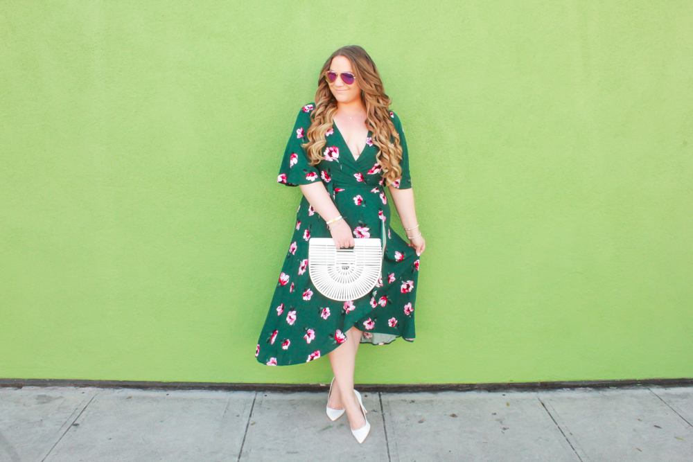 missyonmadison, missyonmadison blog, missyonmadison instagram, melissa tierney, melissa tierney blog, melissa tierney blogger, la blogger, fashion blogger, fashion inspo, outfit blog, outfit blogger, style inspo, style blog, style blogger, ootd, white pointed toe pumps, white pumps, white pointed pumps, easter dress, what to wear for easter, green wrap dress, floral wrap dress, green floral wrap dress, bobeau floral wrap dress, white cult gaia bag, white ark bag, white cult gaia ark bag, spring style, spring fashion, how tot wear the ark bag, how to style white heels,