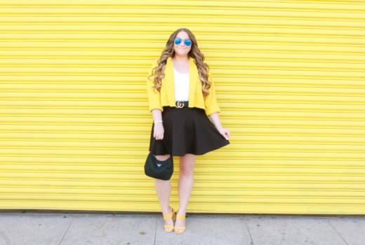 missyonmadison, missyonmadison blog, missyonmadison instagram, la blogger, currently wearing, bloglovin, what i wore, yellow denim jacket, yellow heels, prada bag, prada nylon bag, gucci belt, pearl gucci belt, black skater skirt, white bodysuit, yellow crop jacket, 2020 ave, spring style, bumblebee look, spring style, spring outfit, currently wearing, melissa tierney, melissa tierney blog, melissa tierney instagram,