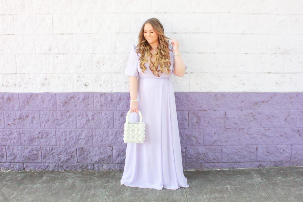 missyonmadison, missyonmadison blog, la blogger, pearl tote bag, pearl handbag, spring style, easter dress, purple maxi dress, wayf clothing, wayf maxi dress nordstrom, wayf clothing nordstrom, wayf dress, white pumps, white heels, white pointed toe pumps, fashion blogger, style inspo, ootd, outfit inspo, outfit blogger, easter outfit ideas,