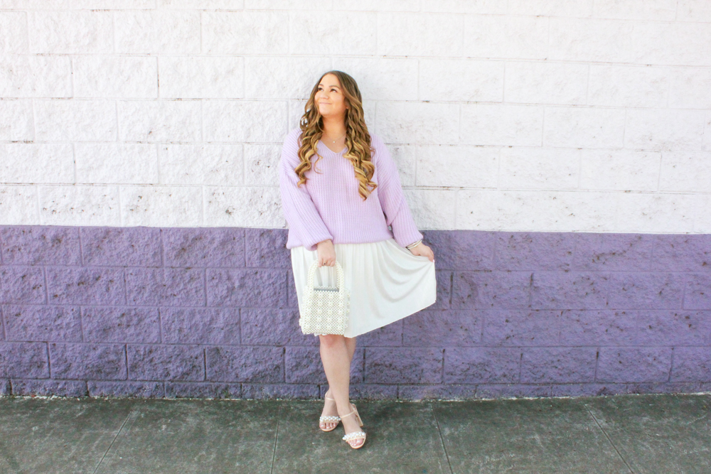 missyonmadison, missyonmadison blog, missyonmadison instagram, la blogger, spring style, spring outfit ideas, spring outfit inspo, ootd, outfit ideas, outfit inspo, pearl handbag, pearl tote handbag, pearl heel sandals, pearl heels, lilac sweater, lilac pastel sweater, pastel sweater, white maxi skirt, white pleated maxi skirt,