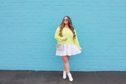 missyonmadison, missyonmadison blog, la blogger, melissa tierney, melissa tierney blog, melissa tierney blogger, white ankle boots, white booties, white ankle booties, white skater skirt, white simlu skater skirt, yellow sweater, yellow cropped sweater, fashion blog, fashion blogger, style blog, style blogger, clear purse, clear handbag, raybans,