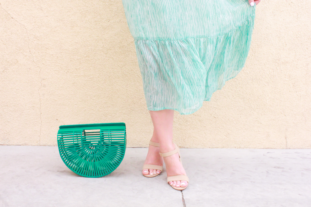 missyonmadison, missyonmadison blog, missyonmadison blogger, la blogger, fashion blog, fashion blogger, style blog, style blogger, spring trends, red dress boutique, red dress boutique review, little white dress, green ark bag, green cult gaia ark bag, nude heels, rainbow clutch, rainbow bag, green stripes maxi dress,