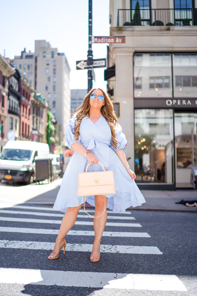 missyonmadison, missyonmadison blog, la blogger, missyonmadison instagram, ootd, outfit inspo, shein, shein dress, shein wrap dress, shein dress for summer, chanel bag, beige chanel bag, nude chanel bag, chanel top handle bag, stuart weitzman, stuart weitzman nudist sandal, stuart weitzman heels, nyc, nyc vs la, ny vs la, differences between ny and la,