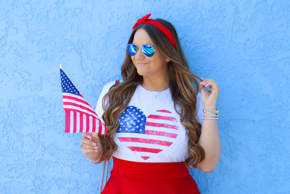 missyonmadison, missyonmadison blog, la blogger, missyonmadison instagram, patriotic tee shirt, red white and blue, red white and blue outfit, american flag tee, style inspo, style blogger, style blog, red gucci bag, gucci bag, pink lily patriotic collection, patriotic tee pink lily, blue sandals, blue ankle strap heels, blue sandal heels, 4th of july party, american flag,