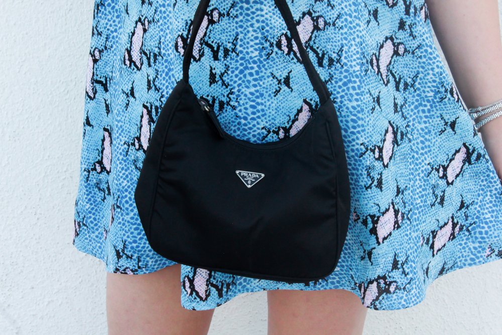 vintage prada bag, small prada bag, white pumps, cobalt blue dress, reptile print dress, missyonmadison, la blogger, missyonmadison instagram, missyonmadison blog, currently wearing, shop buddy love, buddy love, buddy love summer style, buddy love swimwear, buddy love dress, buddy love top, what to wear for summer, online fashion boutique, colorful summer dresses,
