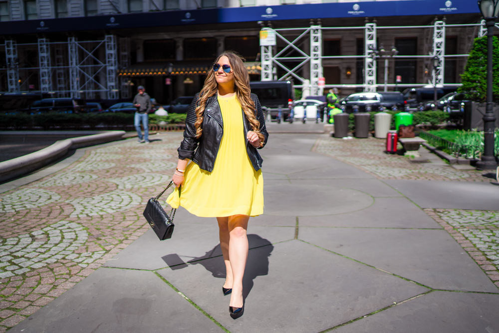 missyonmadison, missyonmadison instagram, missyonmadison blog, la blogger, fashion blog, fashion blogger, style blog, style blogger, style inspo, ootd, nyc style, new york city style, outfit ideas, outfit inspo for fall, black pumps, yellow dress, black moto jacket, fall moto jacket, black chanel bag, black chanel flap bag, shein yellow dress, melissa tierney,
