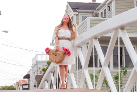 missyonmadison, melissa tierney, missyonmadison instagram, cult gaia bag, cult gaia ark bag, white off the shoulder dress, white off the shoulder shein dress, la blogger, bloglovin, shein white dress, nude ankle strap heels, nude ankle strap sandals, gucci belt, pink raybans, fashion blog, fashion blogger,