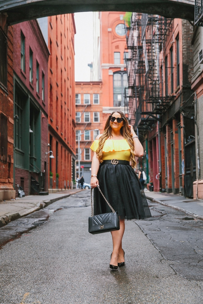 missyonmadison, missyonmadison blogger, missyonmadison instagram, la blogger, melissa tierney, melissa tierney instagram, fashion blogger, fashion blog, ny street style, nyc style, style blog, style blogger, outfit inspo, outfit ideas, ootd, black pumps, black tulle skirt, black chanel flap bag, chanel bag, yellow bodysuit, taxi cab photoshoot, nyc photography,