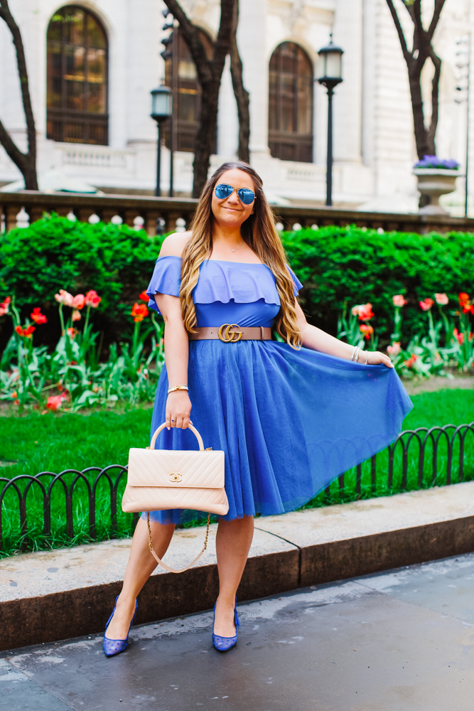 missyonmadison, missyonmadison blog, missyonmadison blogger, missyonmadison instagram, la blogger, outfit ideas, outfit inspo, blue pumps, blue tulle skirt, blue skirt, blue off the shoulder bodysuit, chanel bag, beige chanel bag, blue raybans, fashion blogger, style blog, style blogger, nypl, carrie bradshaw outfit, chanel tan satchel, outfit inspiration, adding color to your wardrobe, pop of color,