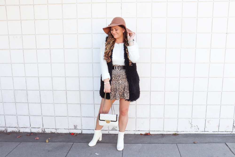 missyonmadison, missyonmadison blog, la blogger, missyonmadison instagram, style blog, style blogger, style inspo, outfit ideas, fashion ideas, fashion blogger, fashion blog, fall fashion, fall style, gucci belt, chanel bag, black faux fur vest, tan floppy hat, white sweater, leopard skirt, leopard skirt for fall, leopard outfit, how to style leopard,