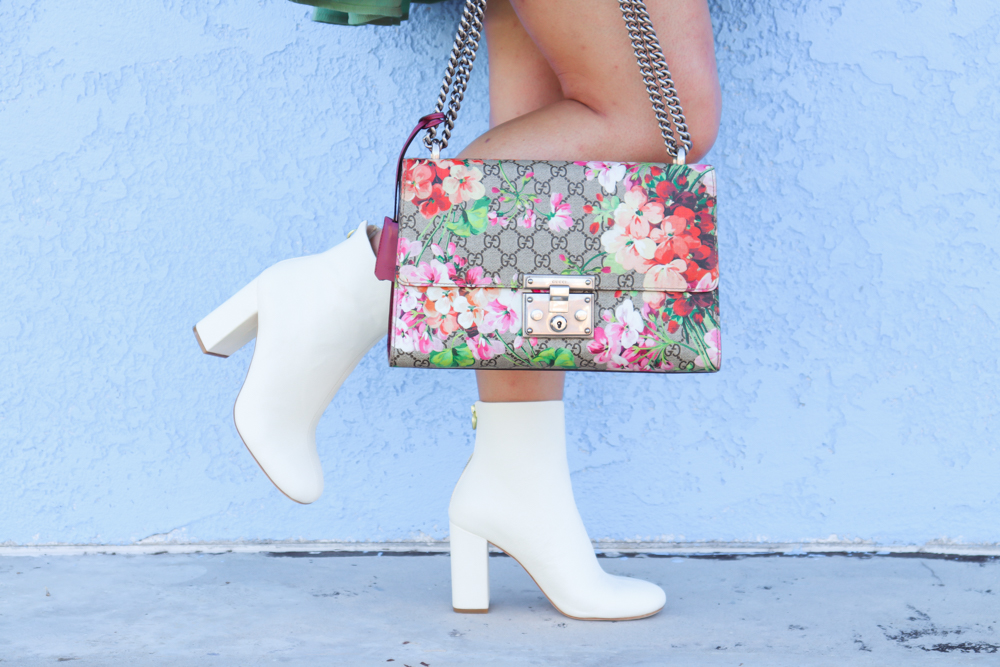 missyonmadison, missyonmadison blog, missyonmadison blogger, missyonmadison instagram, la blogger, outfit blog, outfit inspo, outfit ideas, style inspo, style blog, style blogger, fall style, joie boots, white ankle boots, white booties, green babydoll dress, green fall dress, gucci bag, gucci floral bag, gucci white belt, gucci belt, ootd,