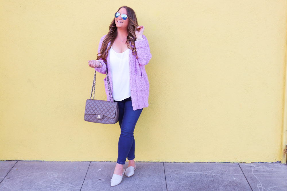 missyonmadison, missyonmadison blog, la blogger, missyonmadison instagram, outfit inspo, outfit goals fall 2019 style, fall cardigans, affordable cardigans, nordstrom, shop the mint reviews, shop the mint, red dress boutique, red dress boutique reviews, fall 2019 cardigans, purple cardigans, grey chanel bag, gray chanel bag, shop pink blush skinny jeans, white chiffon camisole, how to style a cardigan for fall, colorful cardigans, ootd, melissa tierney,
