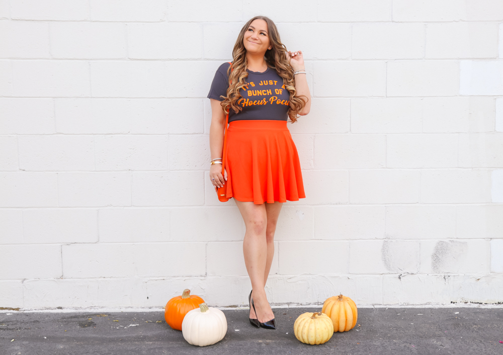 missyonmadison, missyonmadison instagram, missyonmadison blog, la blogger, halloween style, halloween costume, halloween tee, halloween graphic tee, hocus pocus tee, halloween 2019, halloween 2019 style, orange skater skirt, orange skirt, black pumps, black boots, black otk boots, black over the knee boots, orange purse, orange gigi new york bag,