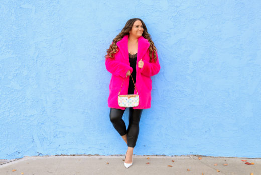 missyonmadison, missyonmadison blog, la blogger, pink furry coat, pink fuzzy coat, majorelle, majorelle coat, revolve clothing, majorelle from revolve, louis vuitton pouchette, louis vuitton bag, spanx leggings, spanx leather leggings, pink coat, winter 2020 style, revolve winter style, outfit inspo, vday outfit, vday outfit ideas, valentines day outfit, valentines day outfit inspo,