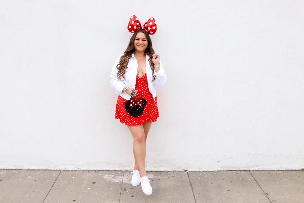 missyonmadison, missyonmadison blog, la blogger, melissa tierney, polka dot dress, polka dot style, polka dot shopping guide, white platform sneakers, minnie style, rock the dots, polka dot outfits, polka dot dress revolve, polka dot privacy please dress, revolve clothing polka dot outfits, what to wear to disney, disneyland outfit, disney world outfit, minnie purse, loungefly minnie purse, white denim jacket, polka dot fashion,