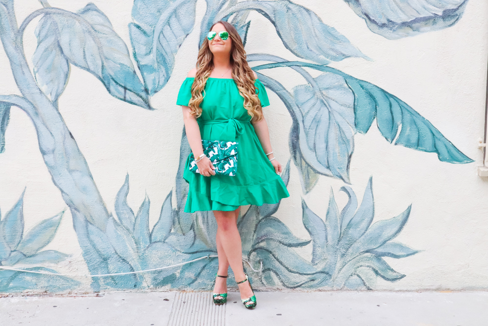 missyonmadison, missyonmadison blog, la blogger, missyonmadison instagram, palm leaf purse, palm leaf clutch, palm leaf shoes, palm leaf heels, palm leaf sandals, hawaii, hawaii bound, tropical outfit, hawaii outfit, green dress, green off the shoulder dress, green dress, la blogger, style blogger, style inspo, fashion blogger,