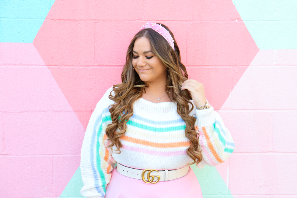 missyonmadison, missyonmadison instagram, la blogger, pearl headband, revolve, lovers and friends, striped sweater, pink skater skirt, pink ysl bag, gray pumps, gray suede pumps, spring style, spring outfit inspo, spring outfit ideas, spring fashion 2020, revolve spring outfits,