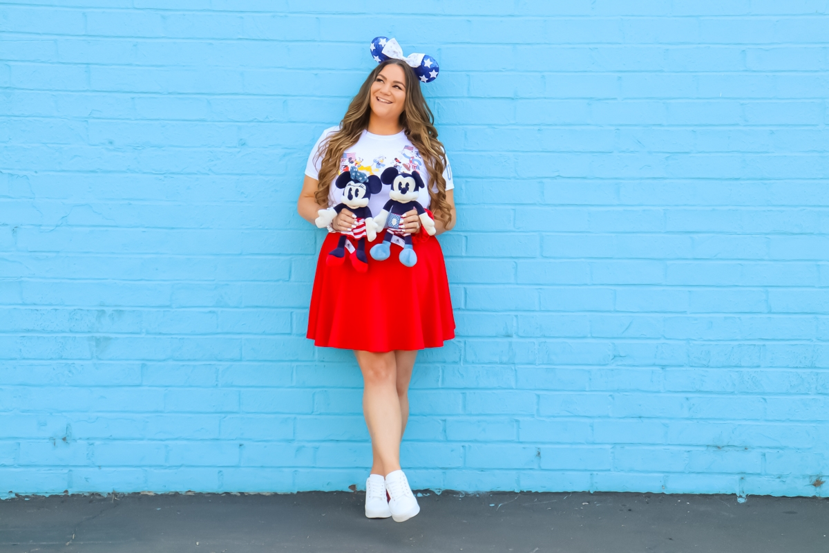 missyonmadison, missyonmadison blog, la blogger, 4th of july outfit, disney style, disney fashion, disney blogger, 4th of july disney, disney 4th of july look, disney 4th of july fashion, stars headband, minnie ears, 4th of july minnie ears, red skater skirt, red loungefly backpack, red loungefly wristlet, primark disney sneakers, primark sneakers, disney usa tee, disney 4th of july tee,